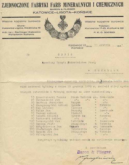 Kryzys w 1931 roku dotknął również pracowników fabryki Stary Młyn. Dokument z 15 grudnia 1931 r. w zbiorach KW.