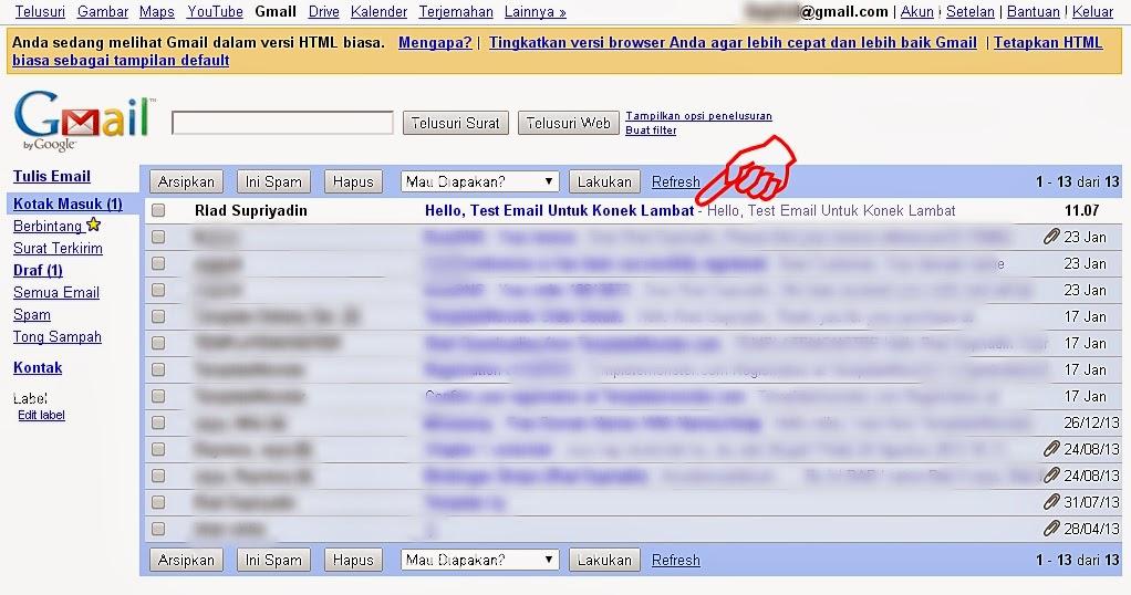 membaca kotak masuk gmail