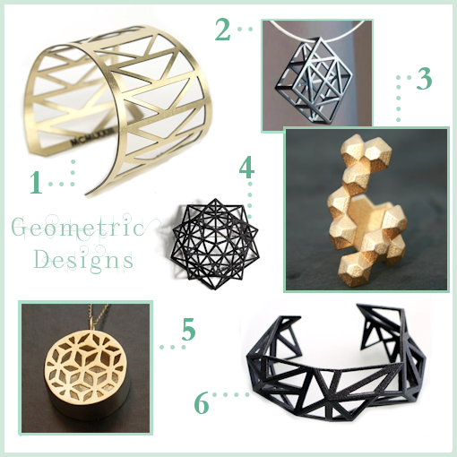 Geometric jewellery designs from a selection of metal artists