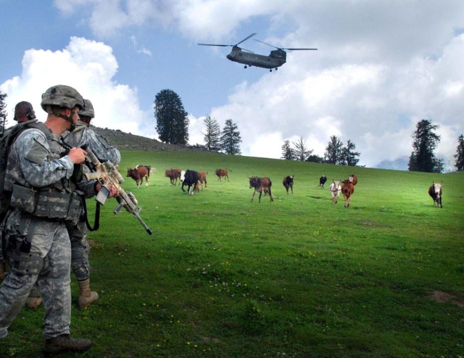 """Sargento Brandon Aird, """"Vacas y helicóptero CH-97 en Naray, provincia de Kunar, Afganistán"""" (2006)"""