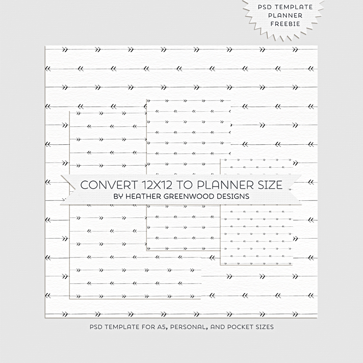 "Freebie PSD template for converting 12""x12"" digital papers into planner dashboard sizes 
