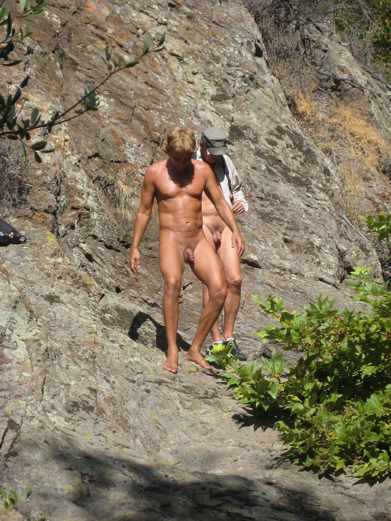 Climbing nude mountain