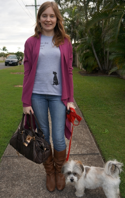 Away From Blue: Purple Cardi, Grey Shelter Dog Tee, Jeans, Boots ...