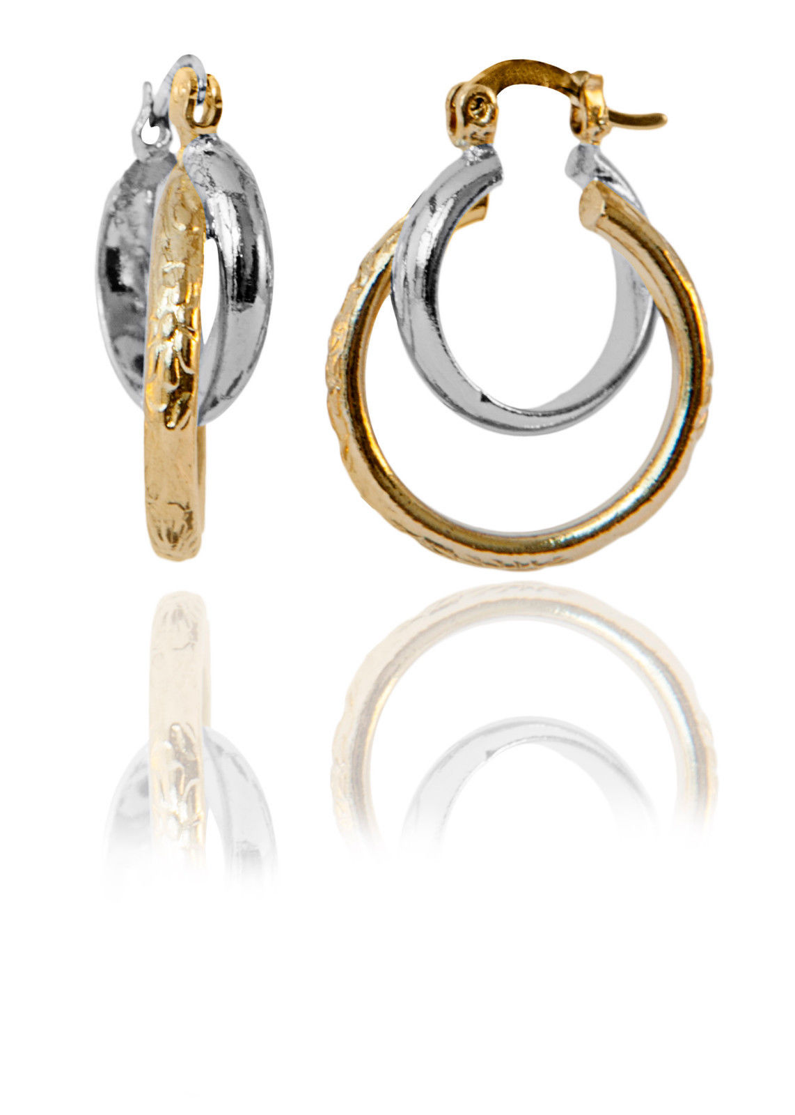 Two-Tone Earrings with patterned 18K Gold