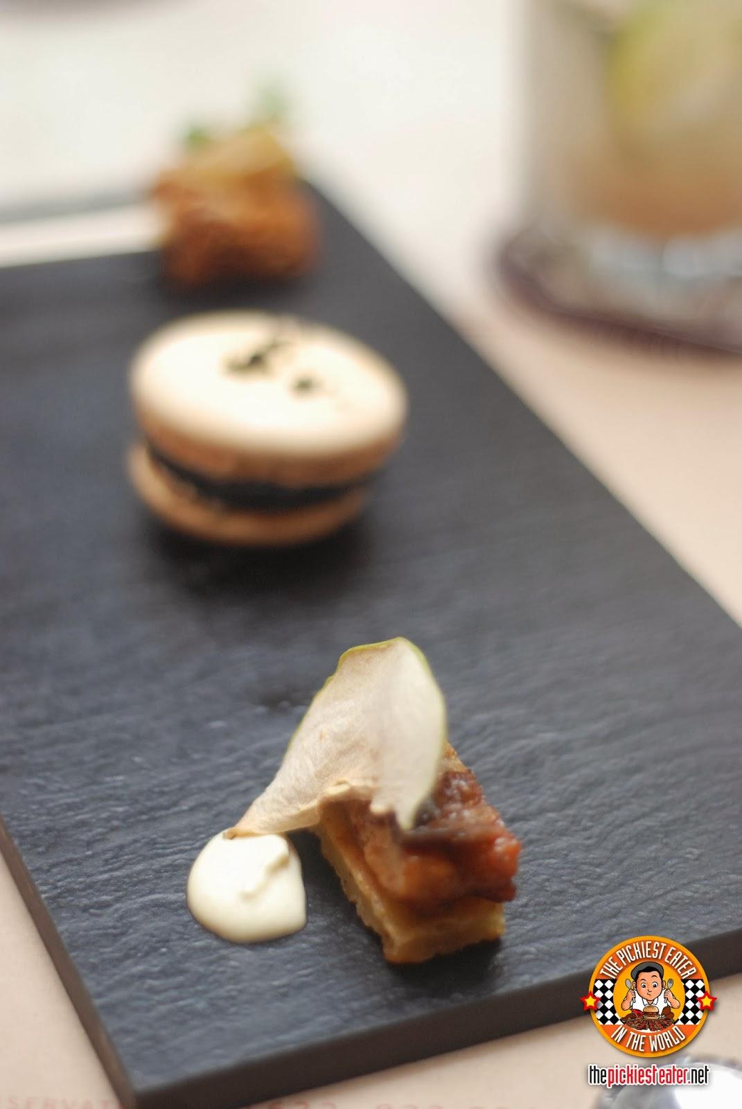 otkb Foie Gras Popsicle, Caponata Macaron, Eel Apple Galatte