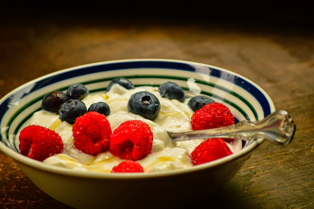 Healthy breakfast Greek yogurt and berries