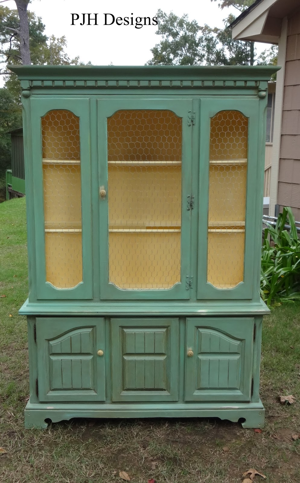 Vintage Hutch To Green Jelly Style Cabinet - PJH Designs Hand Painted Antique Furniture: Vintage Hutch To Green