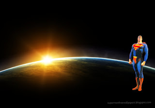 Wallpaper of Superman free wallpapers posters Superman Standing Tall in Eclipse seen from Space backgrounds