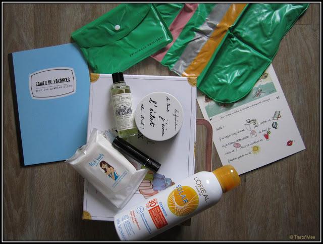 My little Box travel, spray creme solaire L'Oreal, eau de cologne Couvent des minimes, protège-passeport Kanako, masacar Lancôme