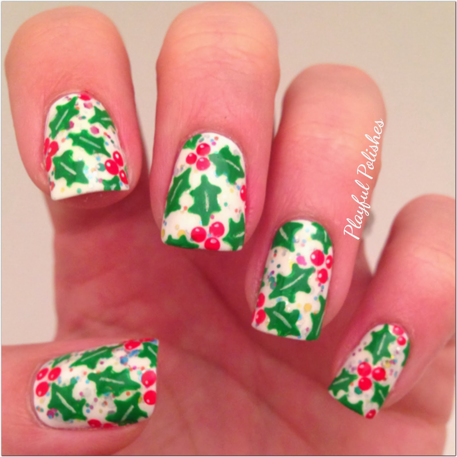 Playful Polishes Holly Nails