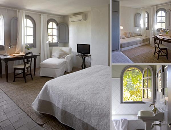 Hotel rural de luxe cerca de Barcelona dormitorio blanco chaise