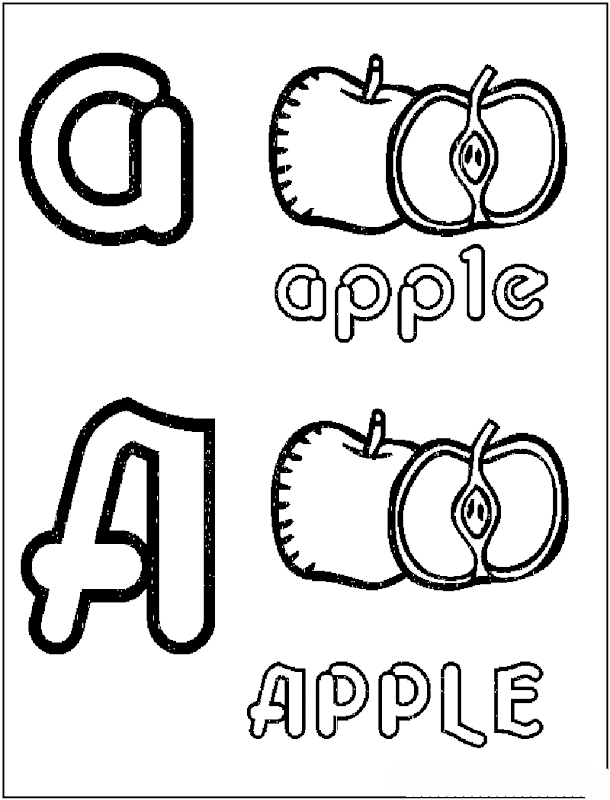 Fruits Alphabet Coloring Pages title=
