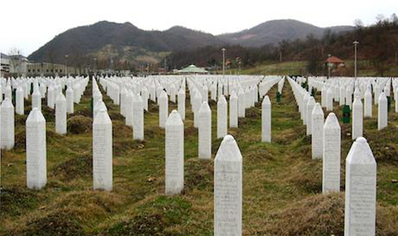 Gravestones at the Srebrenica Genocide memorial.(Wikipedia/public domain)