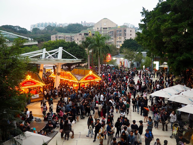 Crowds outside Stanley Plaza at the German Christmas Market, Hong Kong