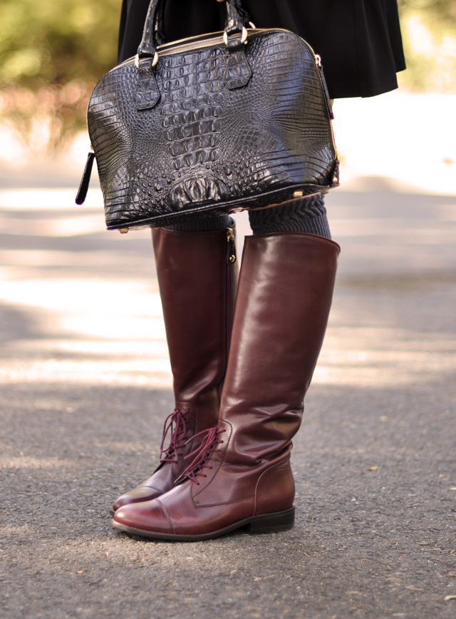 burgundy, oxblood, riding boots, crocodile bag
