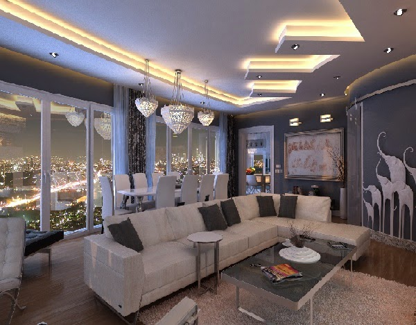 Superbe Modern Living Room Design With False Ceiling Design Part 55