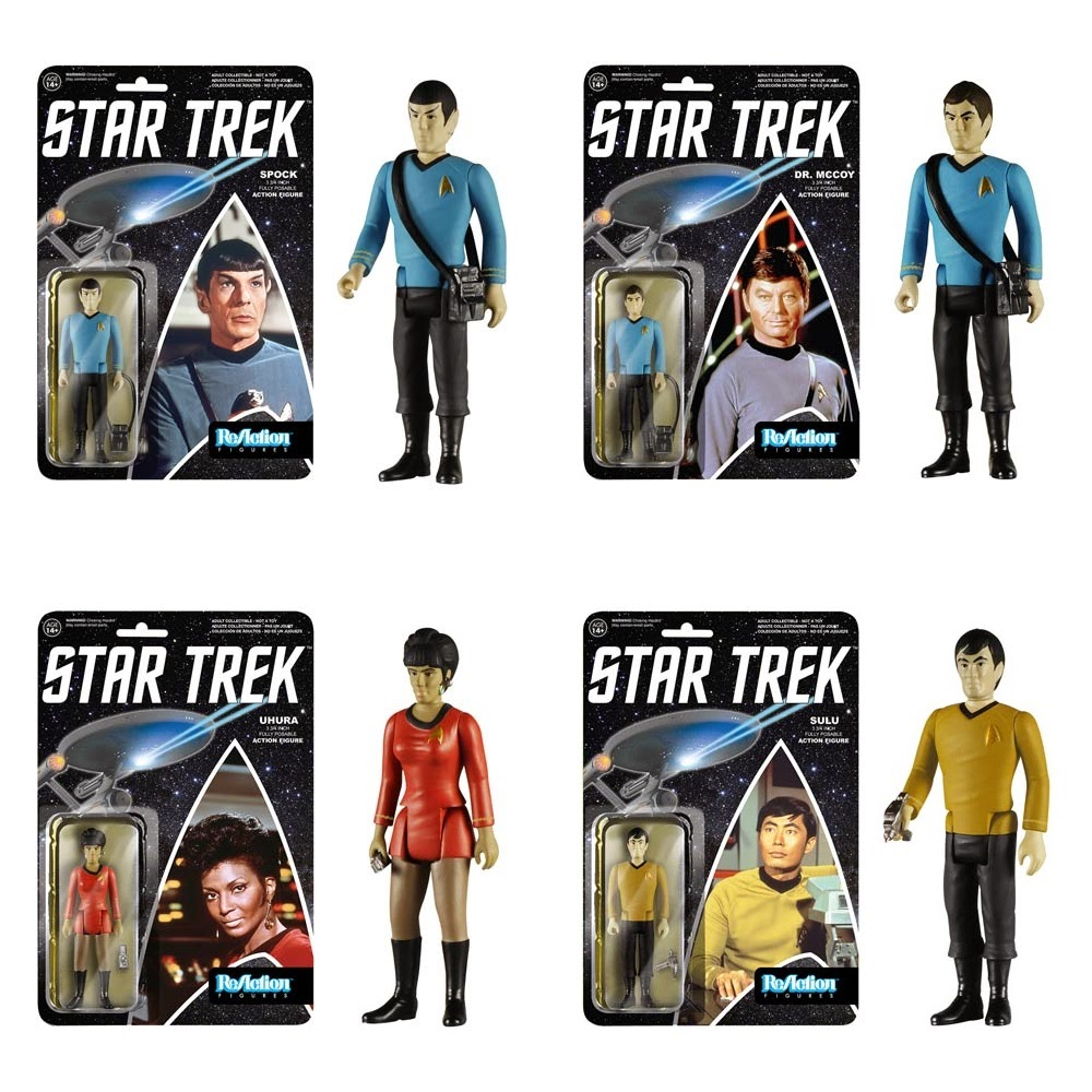Star Trek: The Original Series ReAction Wave 1 Retro Action Figures by Funko & Super7 - Spock, Dr. McCoy, Uhura & Sulu