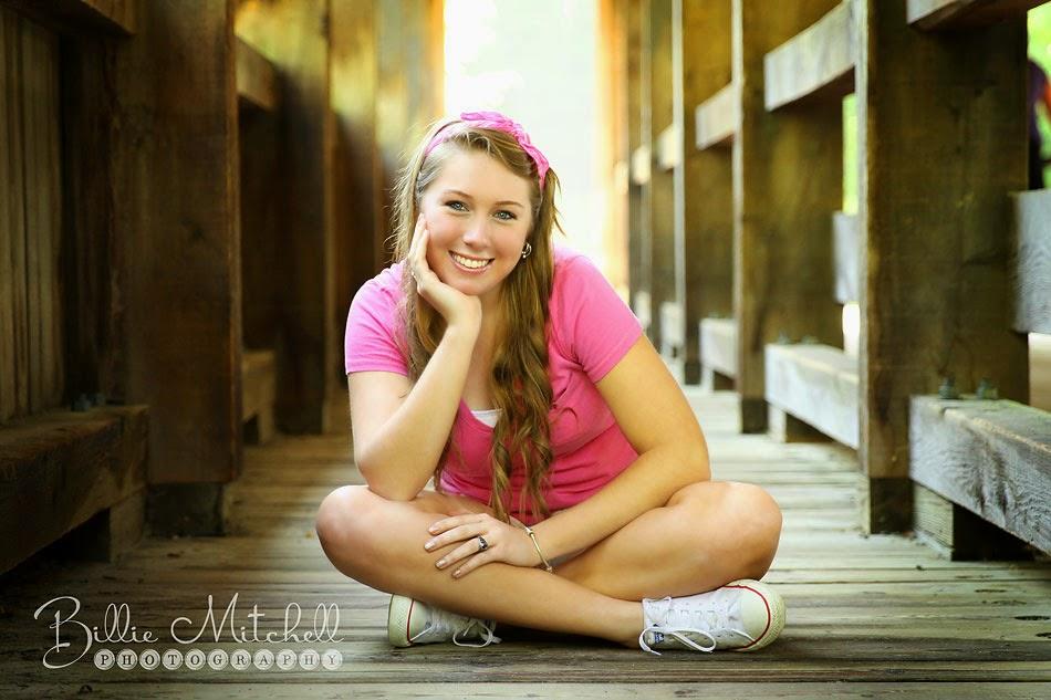senior picture on covered bridge