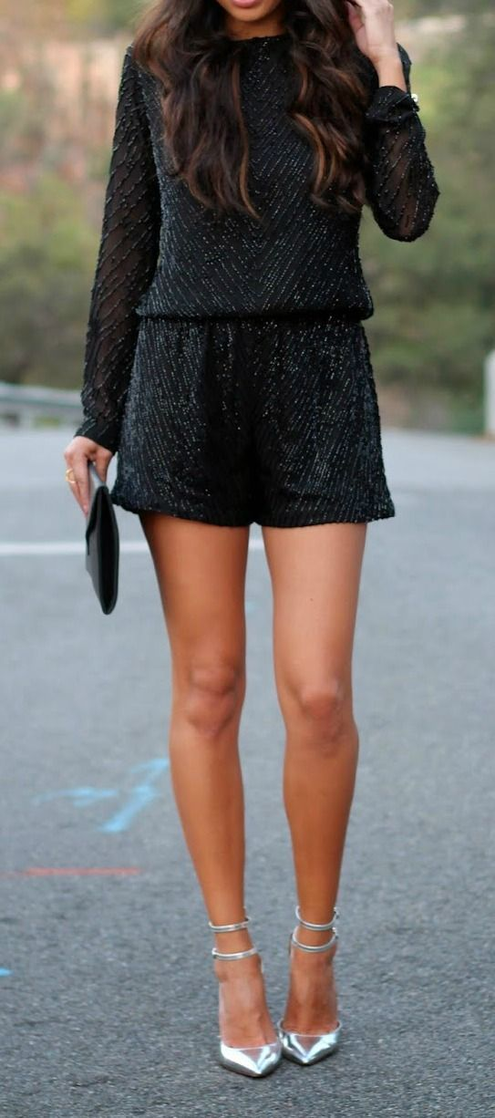 Fashion Trends Sequined Long Sleeves Black Romper With