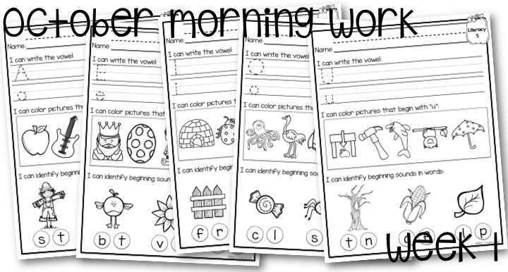 October Morning Work for Kindergarten Miss Kindergarten – Morning Worksheets for Kindergarten