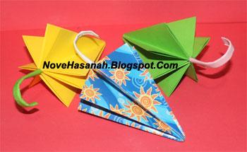 langkah-langkah cara melipat kertas origami untuk anak-anak berbentuk payung yang mudah sekali