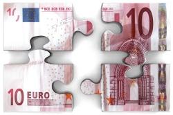 billet de 10 euros en morceaux sous forme de puzzle
