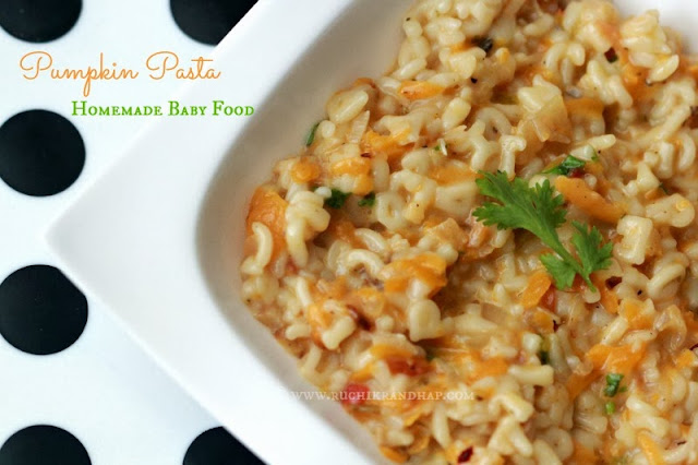 pumpkin pasta - homemade baby food (for babies aged 9 months & above)