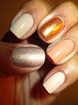 OPI Goldeneye, Julep Ginger, Love & Beauty Beige Nude Ginger, nude, skittle, nails, nail art, nail design, mani