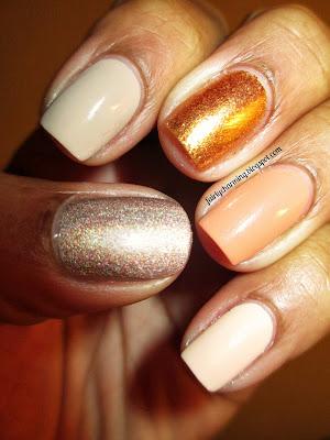 OPI Goldeneye, Julep Ginger, Love & Beauty Beige Nude Ginger, nude, skittle, nails, nail art, nail design, mani