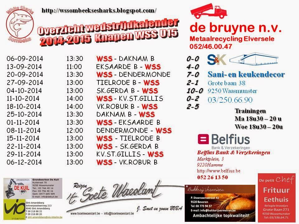 Kalender seizoen 2014-2015