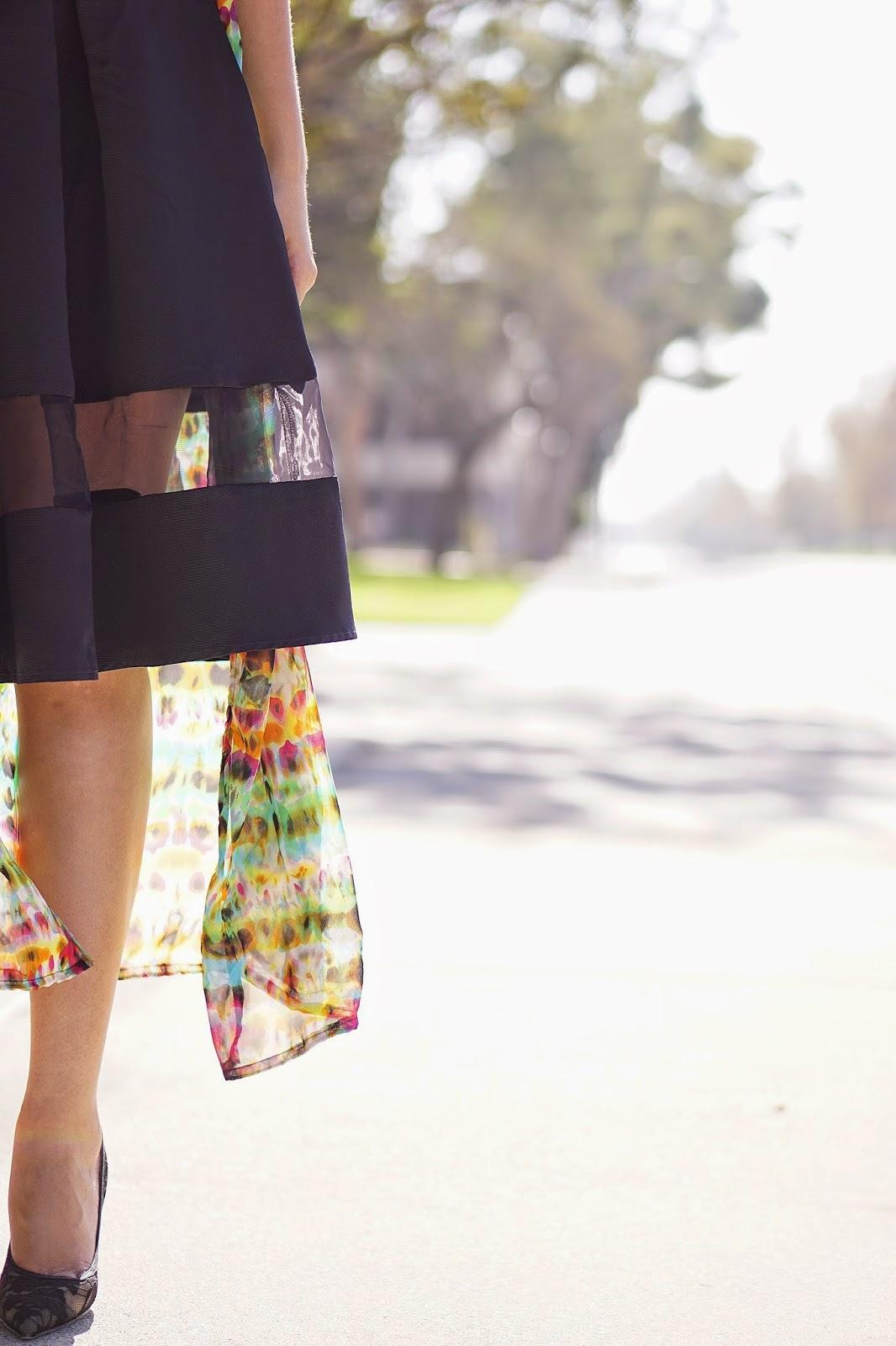 Lookbook, Latina Fashion Blogger, LA Fashion Blogger, Lookbook Store Review, Lookbook Store Maxi Cardigan, Multicolored Maxi Cardigan, Black Express Dress, Black Dress, Lace Heels, Shoemint Heels, Spring Inspiration,