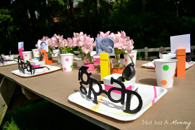 Headed For A Bright Future neon graduation party wide table