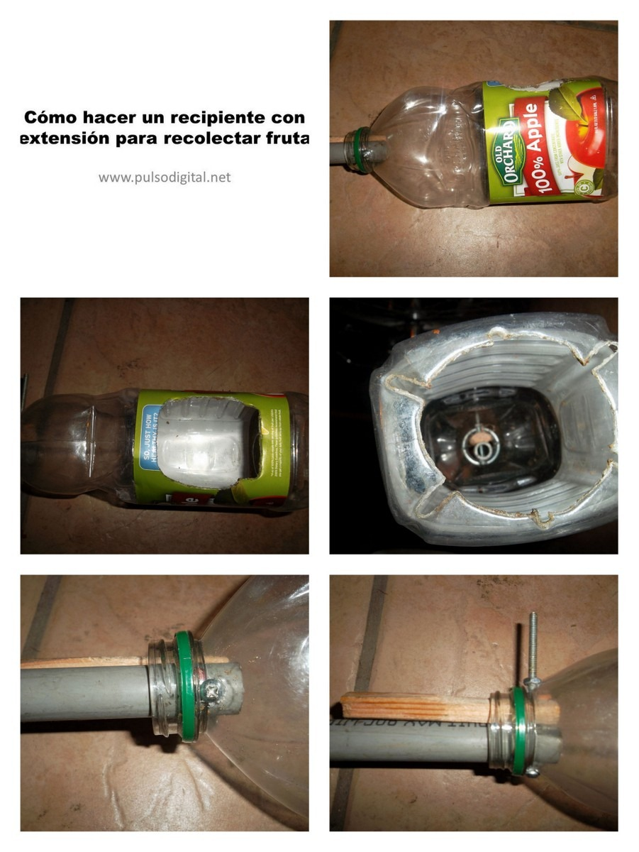 Cómo hacer un recipiente con extensión para recolectar fruta