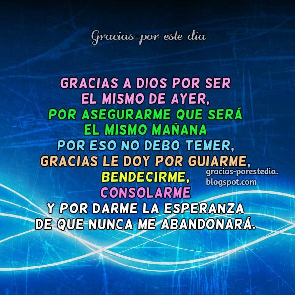 Frases cortas de agradecimiento, Mensaje Cristiano de Gracias a Dios por Mery Bracho. Imagen cristiana para facebook.