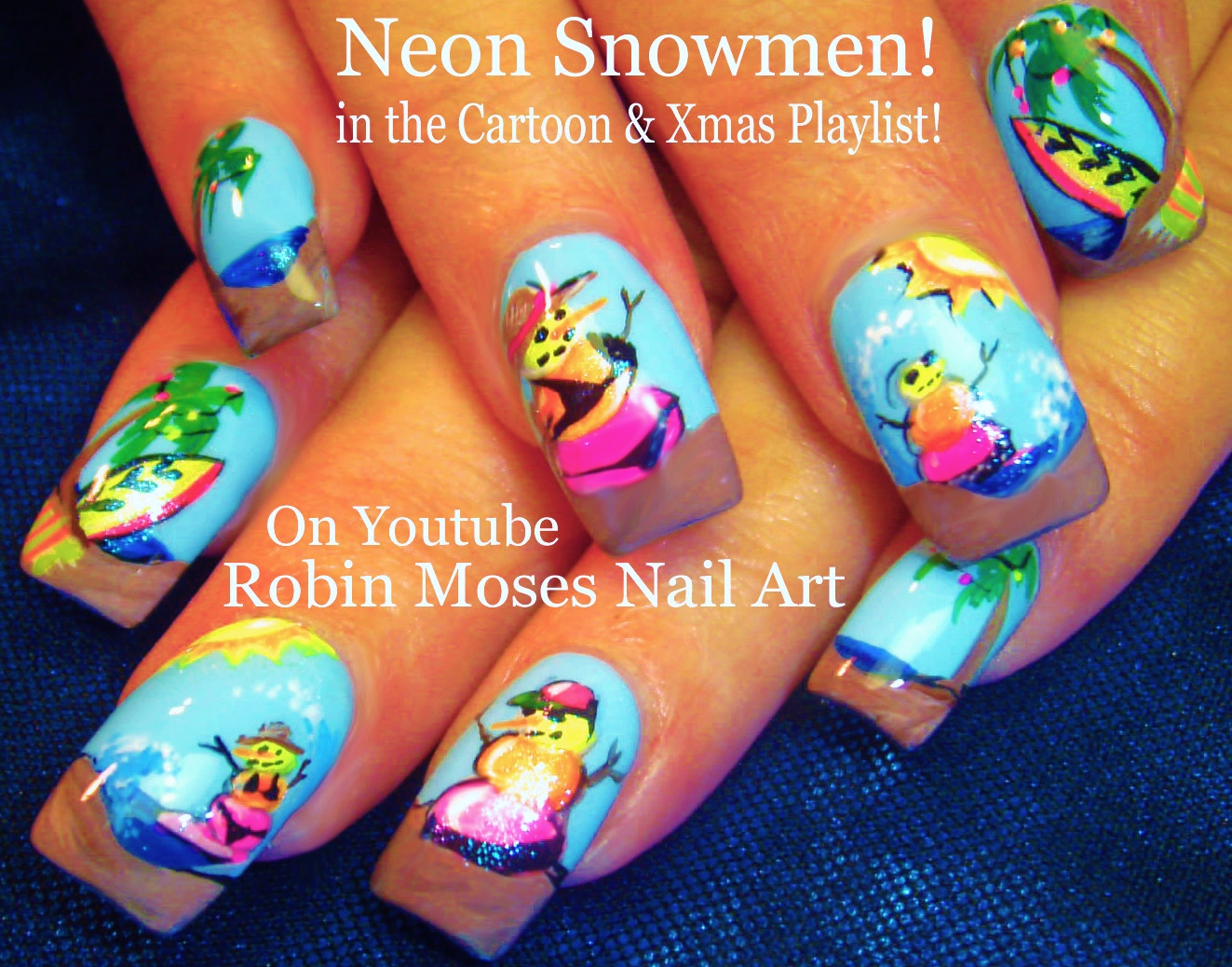 Neon Summer Snowman Nail Design Tutorial with Lots of other fun Summer Nail  Art Trends!!! - Robin Moses Nail Art: Neon Summer Snowman Nail Design Tutorial