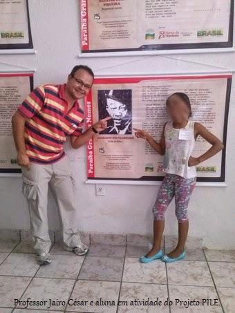 Professor Jairo César e aluna - Projeto PILE, Sapé, PB