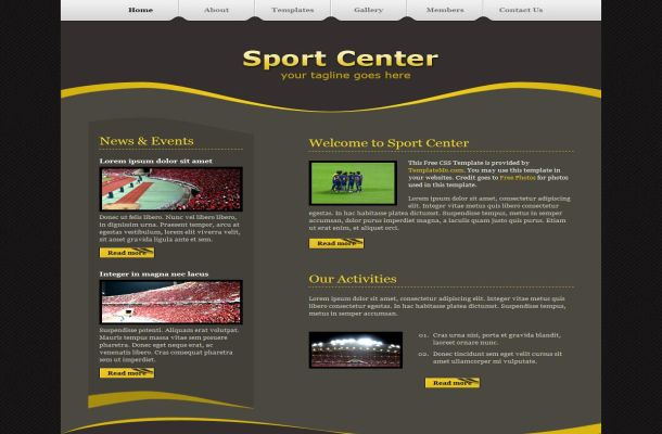 Free Brown Yellow Sport CSS Website Template