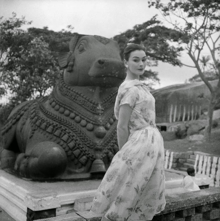 Anne Gunning in front of Nandi Statue on Chamundi Hill, Mysore City