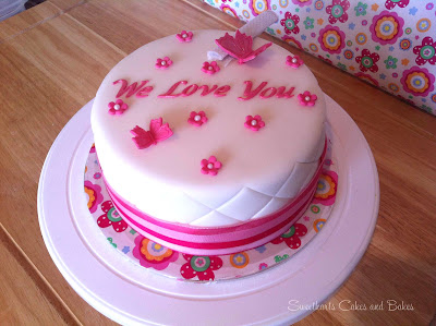 pink and white sparkle love you celebration cake
