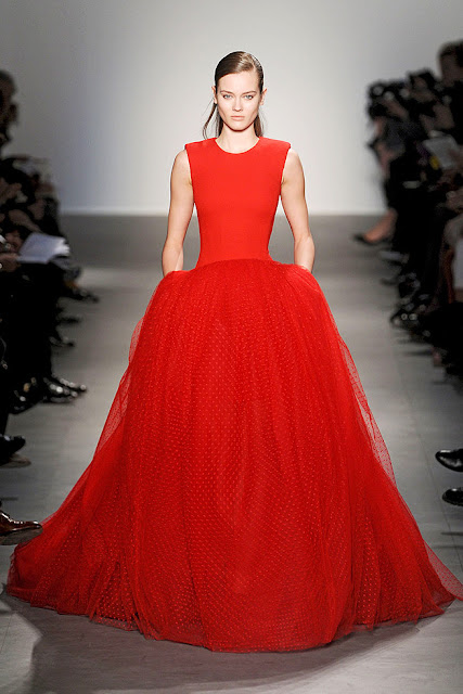 Red evening gown from Giambattista Valli's Fall 2011 Ready to Wear collection