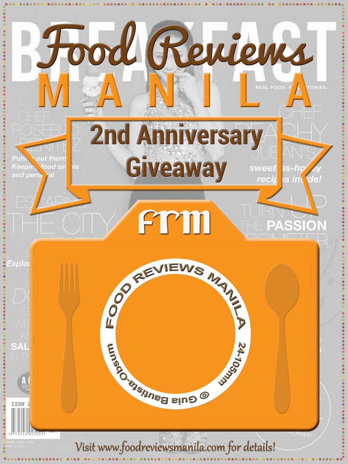Food reviews manila 39 s 2nd anniversary breakfast magazine for Anniversary magazine