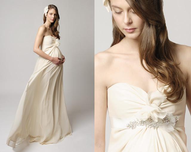 vestido para novia embarazada