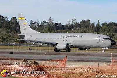 """Boeing 737-400F de la Fuerza Aérea Colombiana. """"Cronos""""."""