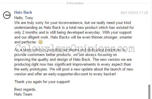 halo back response fb page
