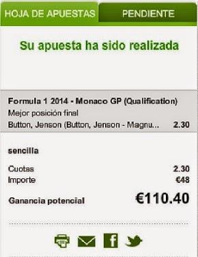 Apuestas Deportivas Rosberg Formula 1- Gran Premio de Mónaco Button