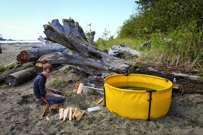 Here's The Original Nomad's awesome hot tub. - This Camping Accessory Is The Best Invention Ever, You'll Be So Jealous