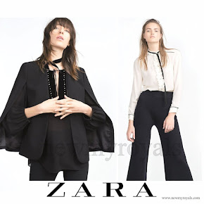 Princess Madeleine wore Zara cape jacket and Zara with tie neck blouse