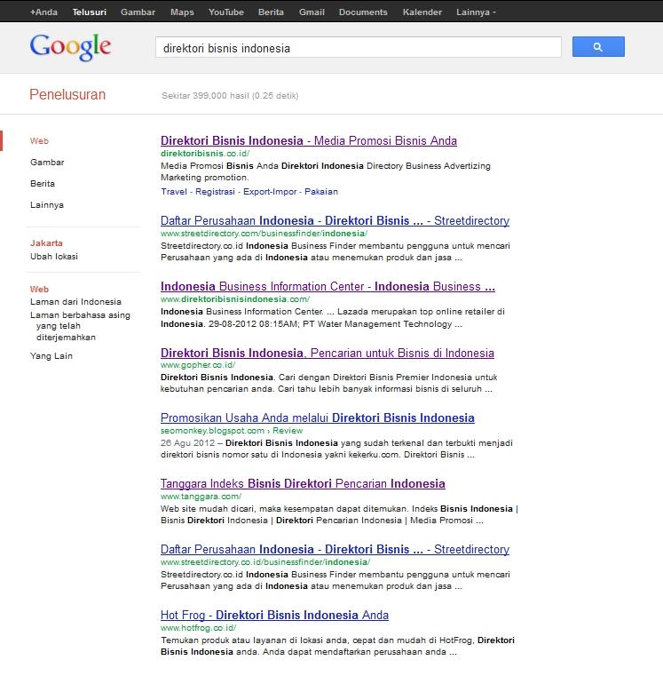 hasil pencarian direktori bisnis indonesia di google.co.id