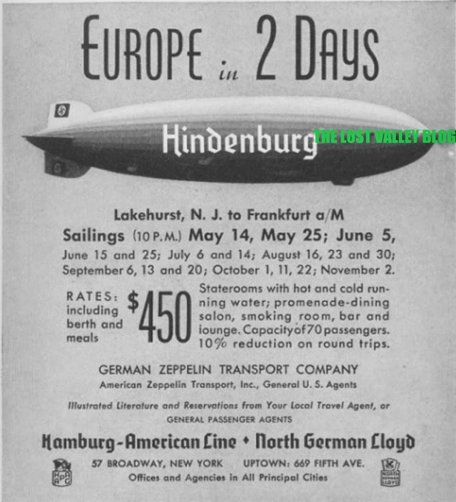 Europe in 2 Days,  the HINDENBURG, Zeppelin advertisement 1937