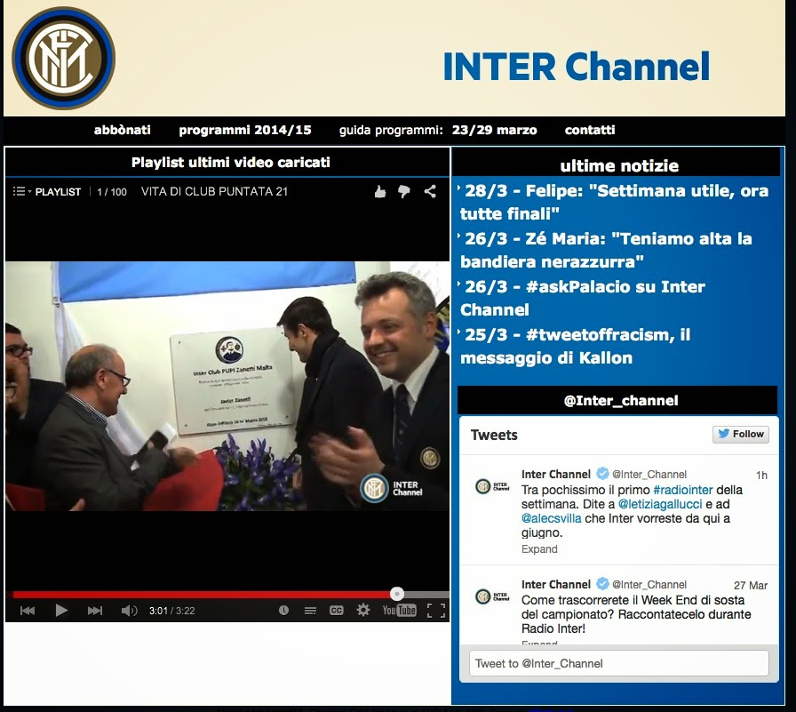 IC Pupi Zanetti Malta Featured on Inter Channel